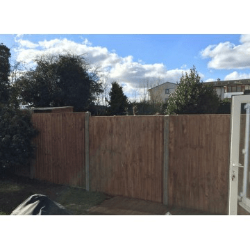 Closebaord Fence Panels with Concrete Setup